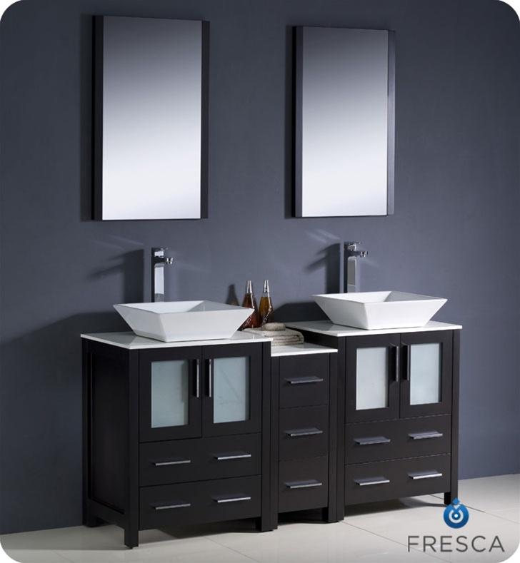 """Modern Double Sink Bathroom Vanities fresca torino 60"""" white modern double sink bathroom vanity with"""