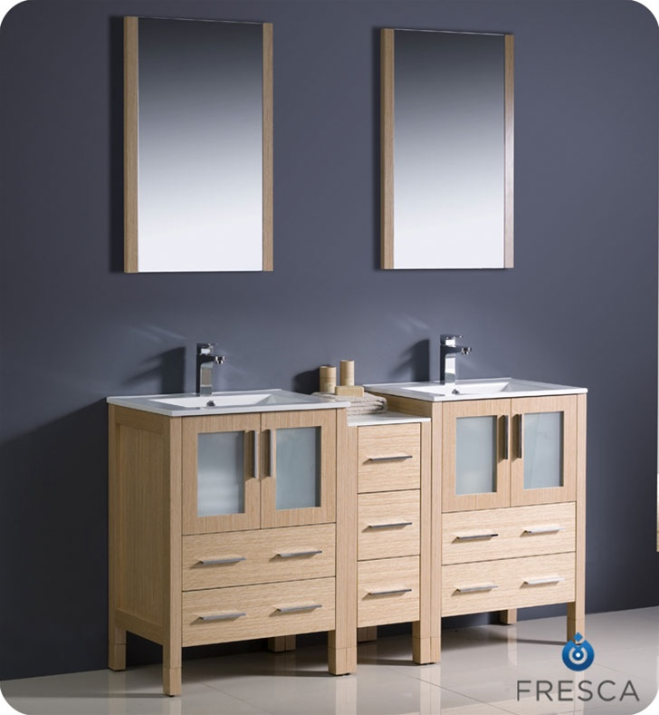 Fresca Torino 60 Modern Double Sink Bathroom Vanity With Color Faucet And Linen Side Cabinet