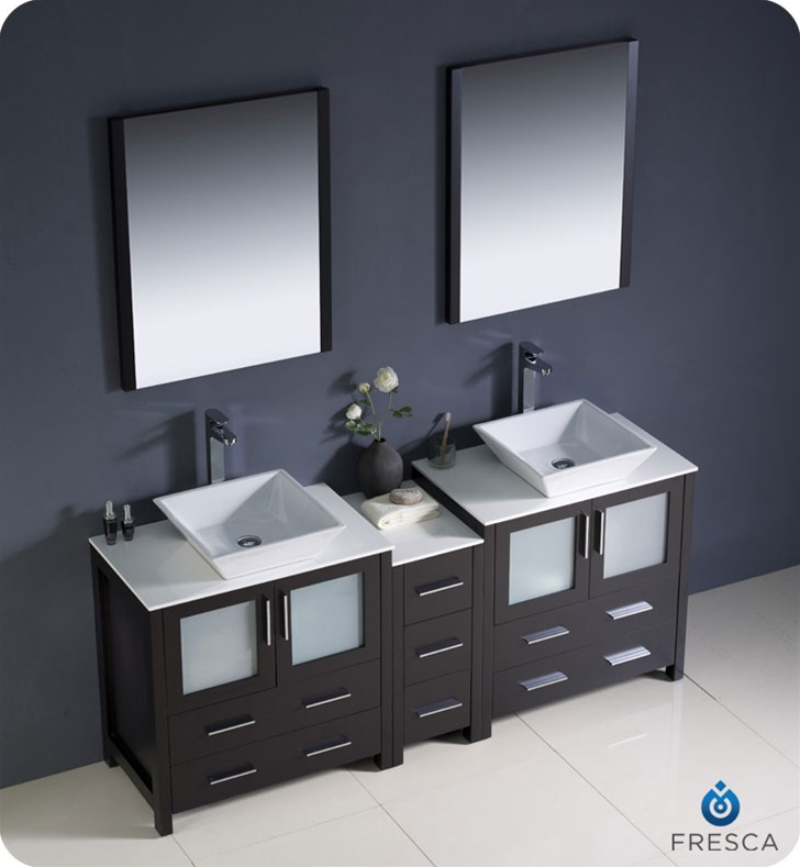 Fresca Torino 72 Espresso Modern Double Sink Bathroom Vanity With Vesse