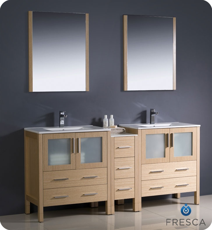 Fresca Torino 72 Modern Double Sink Bathroom Vanity With Color Faucet And Linen Side Cabinet