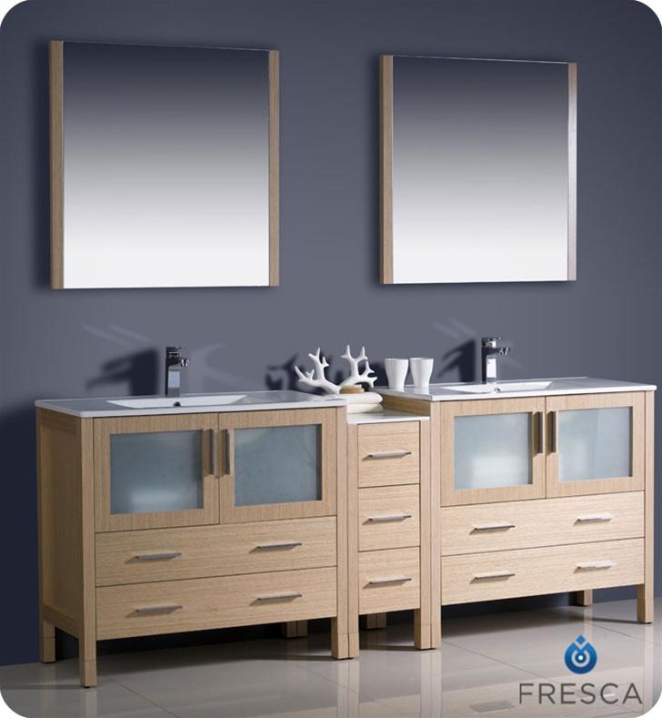 "Bathroom Vanity Side Lights torino 84"" light oak finish modern double bathroom vanity"