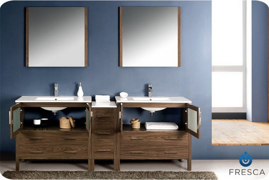 "Bathroom Cabinets Walnut fresca torino 84"" walnut modern double sink bathroom vanity"