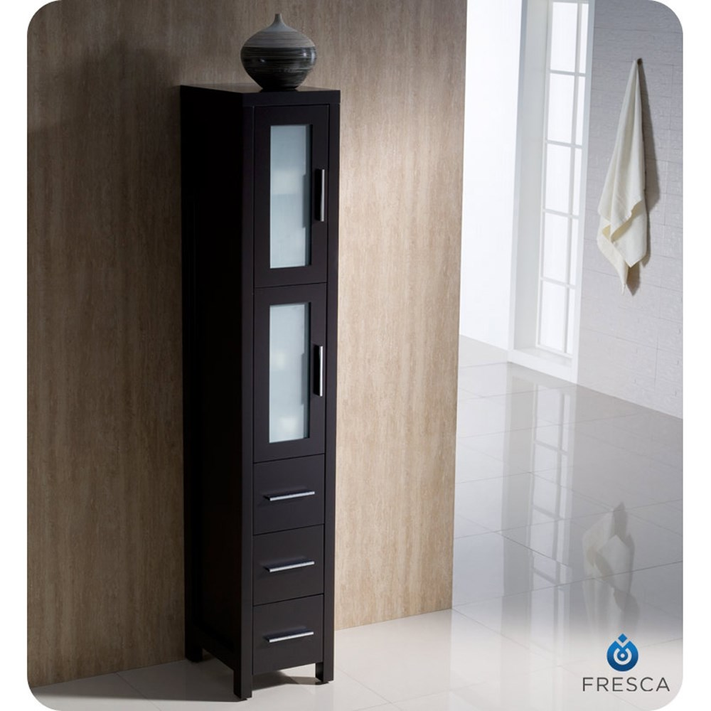 Fresca torino 36 quot espresso modern bathroom vanity with side cabinet
