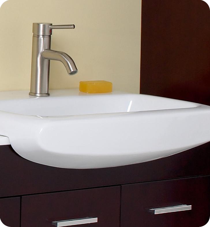 Fresca 59 Espresso Modern Double Sink Bathroom Vanity With Mirror