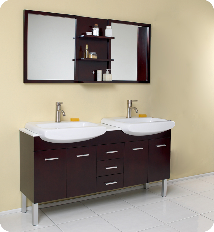 "fresca 59"" espresso modern double sink bathroom vanity with mirror"