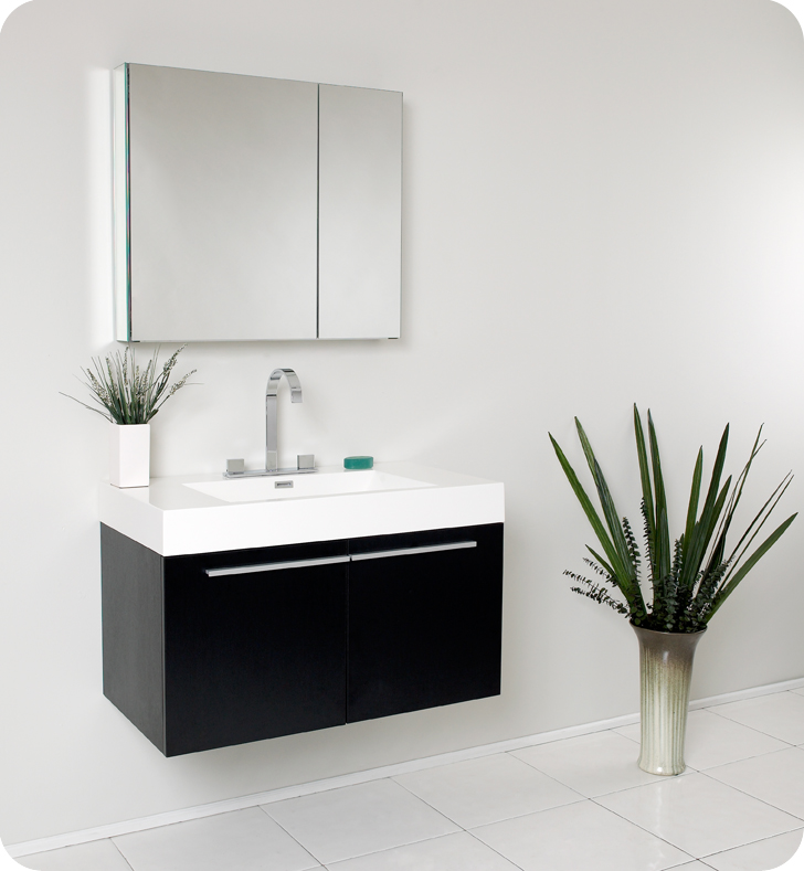 Fresca Vista Black Modern Bathroom Vanity ...