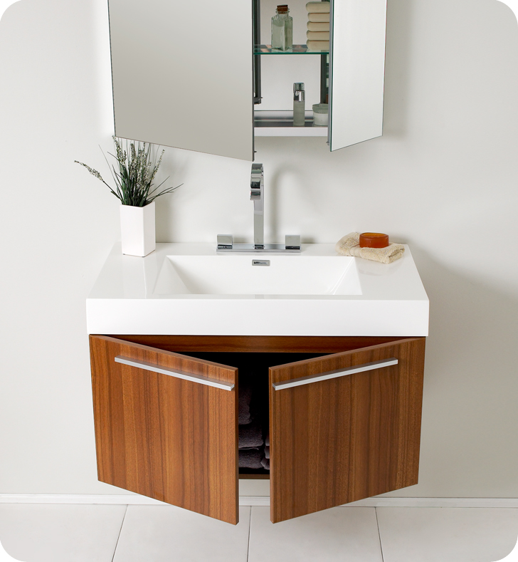 Fresca Vista 36 Teak Modern Bathroom Vanity With Faucet Medicine Cabinet And Linen Side
