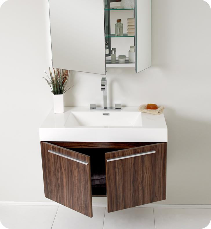Fresca Vista Walnut Modern Bathroom Cabinet. Fresca Vista Walnut Modern Bathroom Vanity
