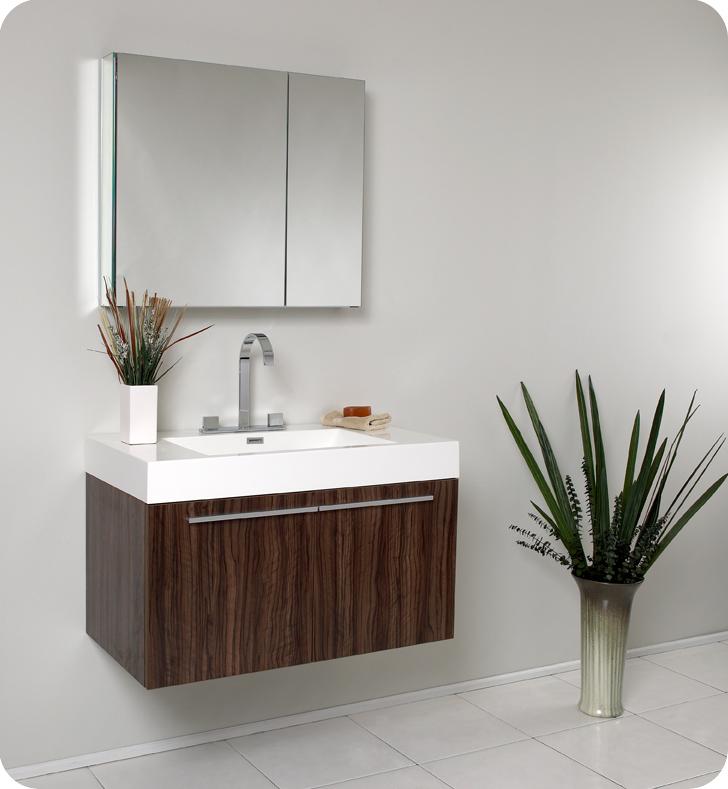 Fresca Vista 36 Quot Walnut Modern Bathroom Vanity With Faucet