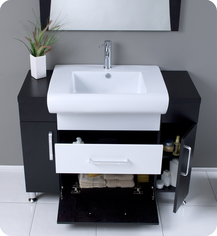 ... Fresca Vita Modern Bathroom Cabinet. The 44 Inch Modern Bathroom Vanity  With Dark Wood ...