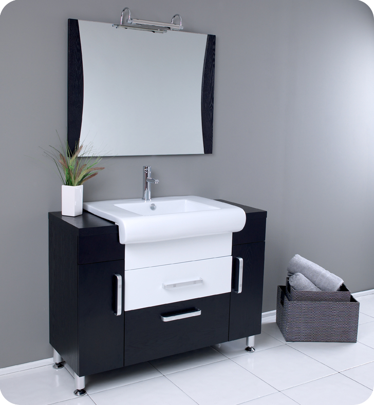 Fresca vita modern bathroom vanity dark wood finish for Bathroom bathroom bathroom