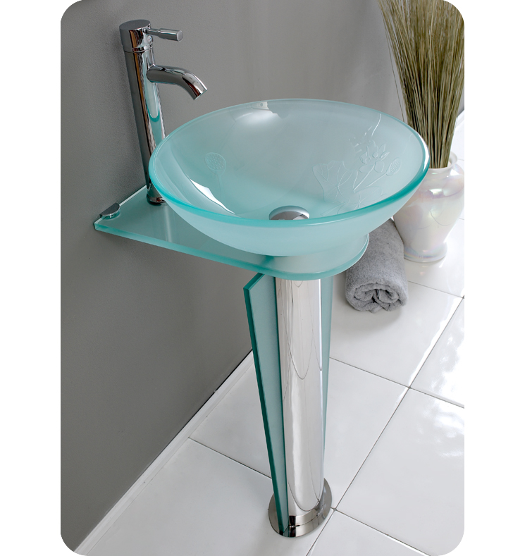 Fresca vitale modern glass bathroom vanity with mirror for Modern glass bathroom