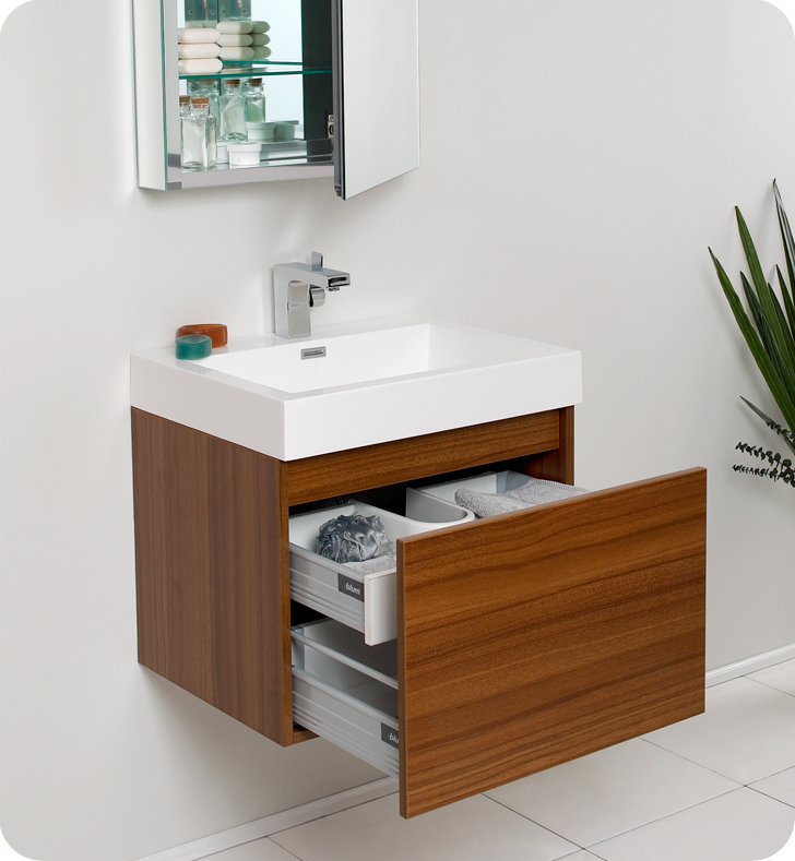 Fresca Nano Teak Modern Bathroom Vanity With Medicine