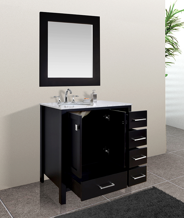 Malibu 36 inch Contemporary Espresso Cabinet Only Bathroom ...