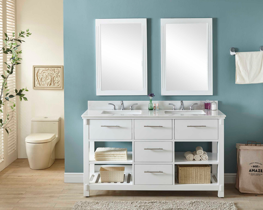 """60"""" Double Sink Bathroom Vanity in White Finish with ..."""