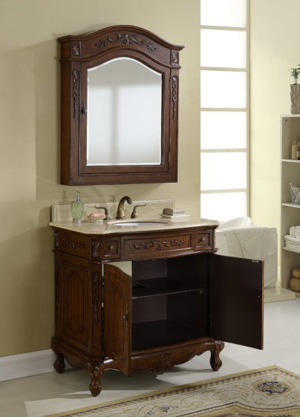 36 Quot Deep Chestnut Finish Vanity With Matching Medicine Cabinet
