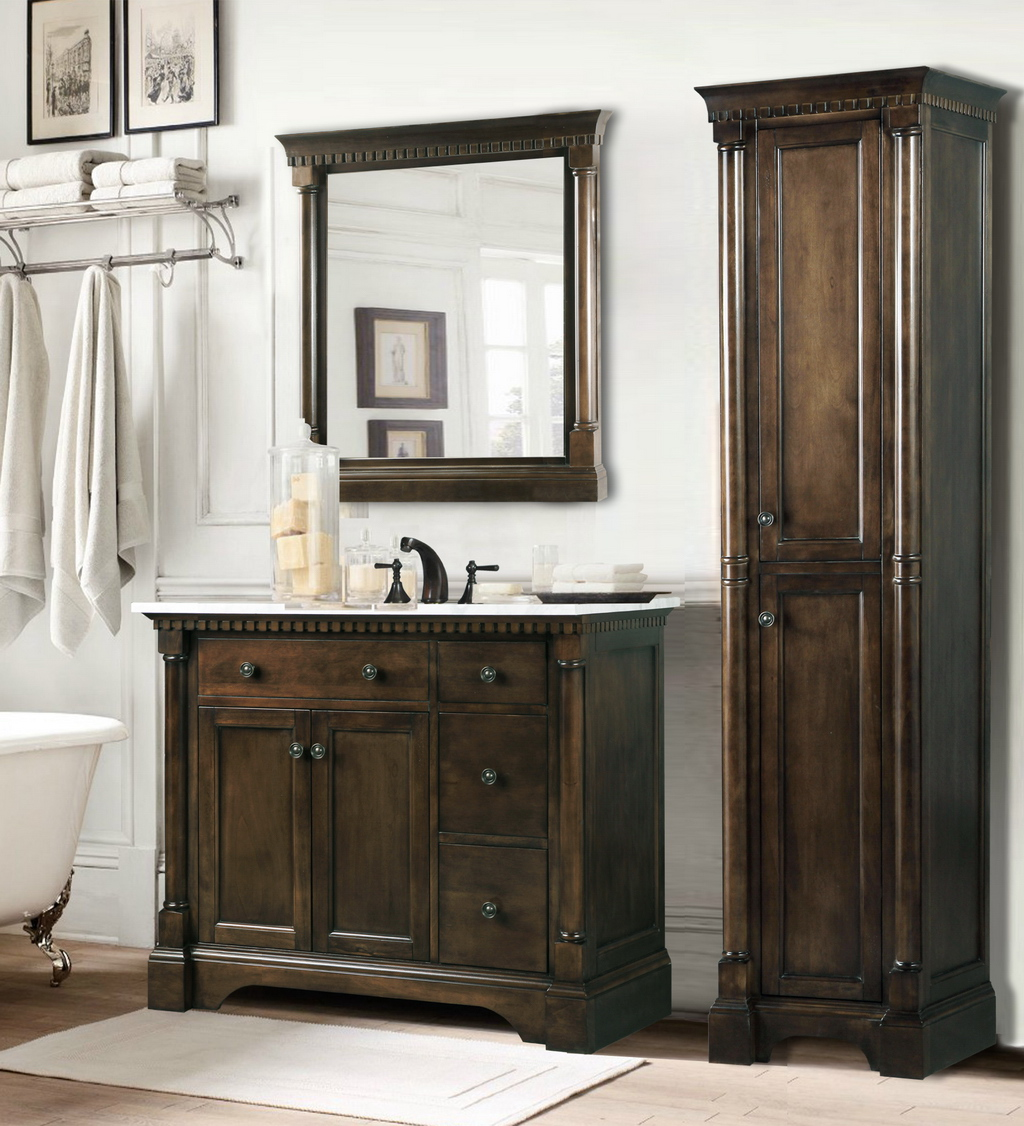 Contemporary bathroom vanities 36 inch - Abel 36 Inch Single Sink Bathroom Vanity In Antique Coffee