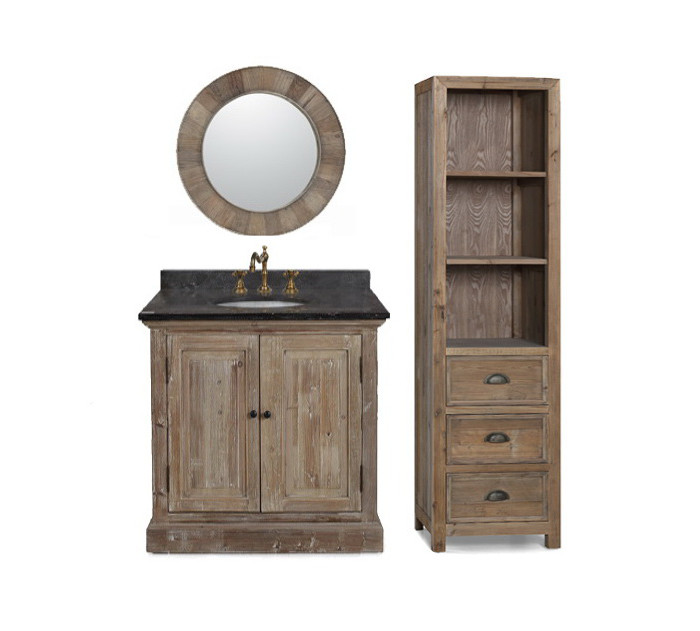 Legion 36 inch Rustic Single Sink Bathroom Vanity Marble Top