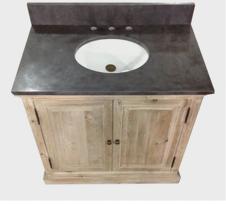 Legion 36 inch Rustic Single Sink Bath Vanity Marble Top