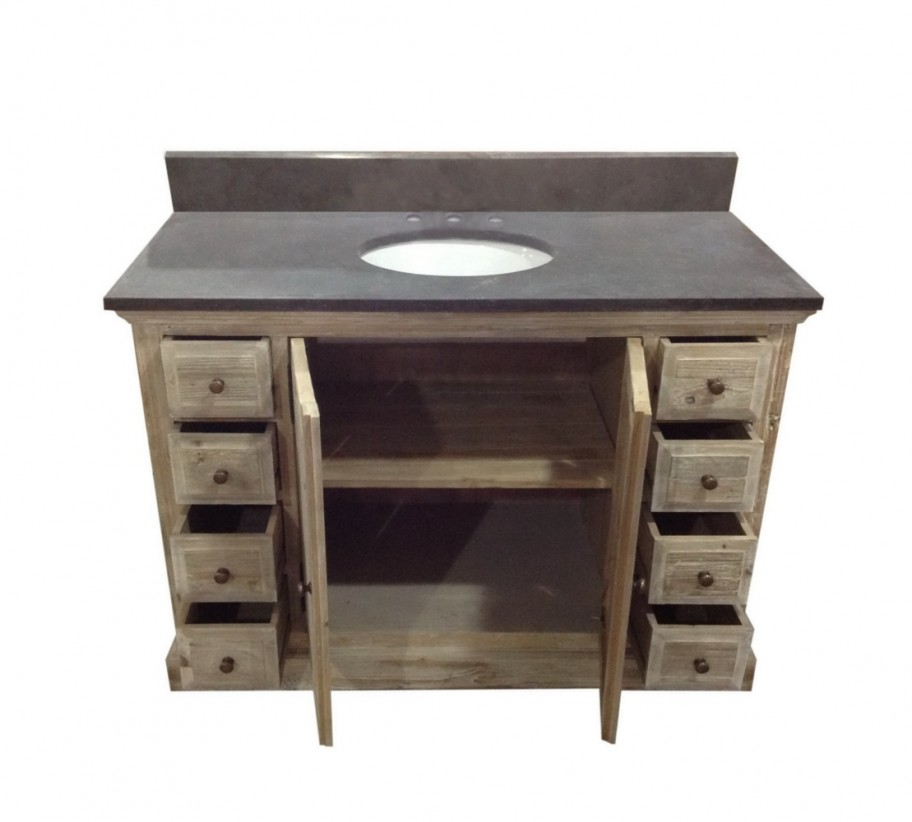 Legion 48 inch rustic single sink bathroom vanity wk1848 for Restroom vanity