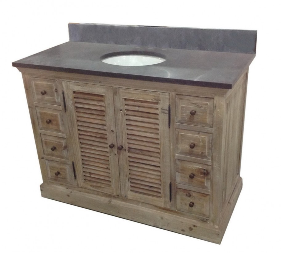 Legion 48 Inch Single Rustic Bathroom Vanity Marble Top