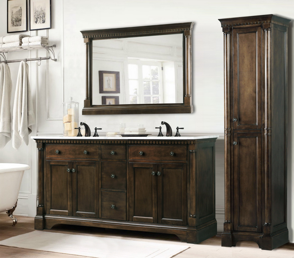 Legion 60 Inch Antique Single Sink Bathroom Vanity Antique Coffee Finish Carrara White Marble Top