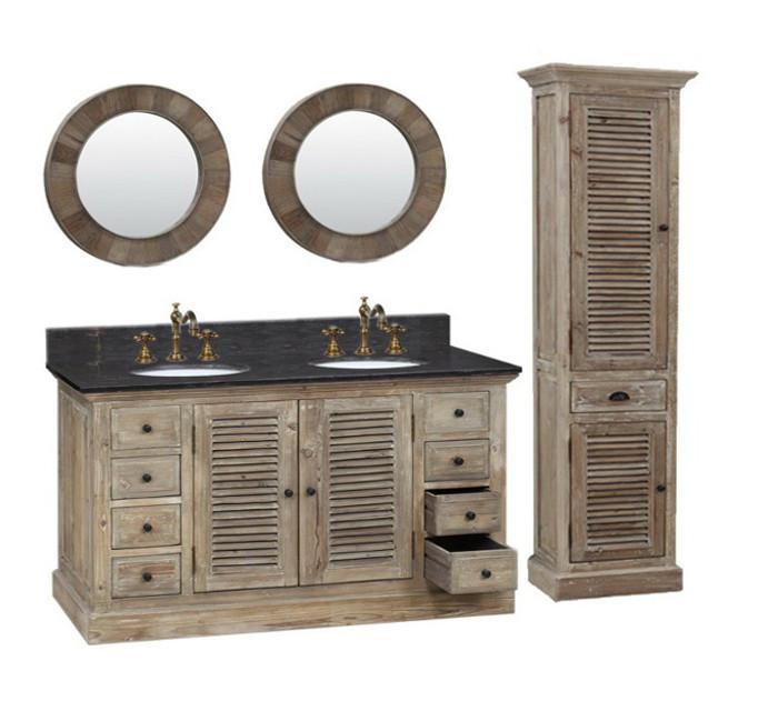 Legion 60 inch Double Sink Rustic Bathroom Vanity Marble Top ... - Legion 60 Inch Double Sink Rustic Bathroom Vanity WK1960, Marble Top