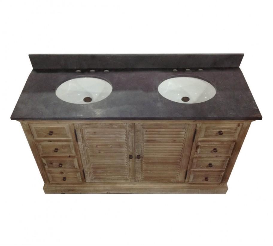 Legion 60 Inch Double Sink Rustic Bathroom Vanity WK1960 Marble Top