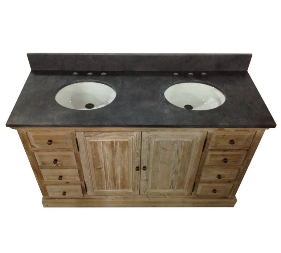 Legion 60 inch Rustic Double Sink Bathroom Vanity WK1860, Marble Top