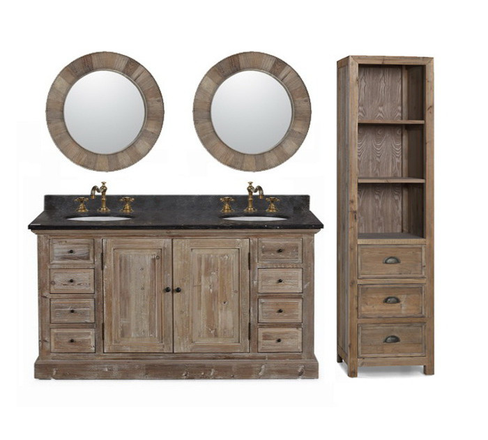 60 inch Rustic Double Sink Bathroom Vanity WK1860, Marble Top