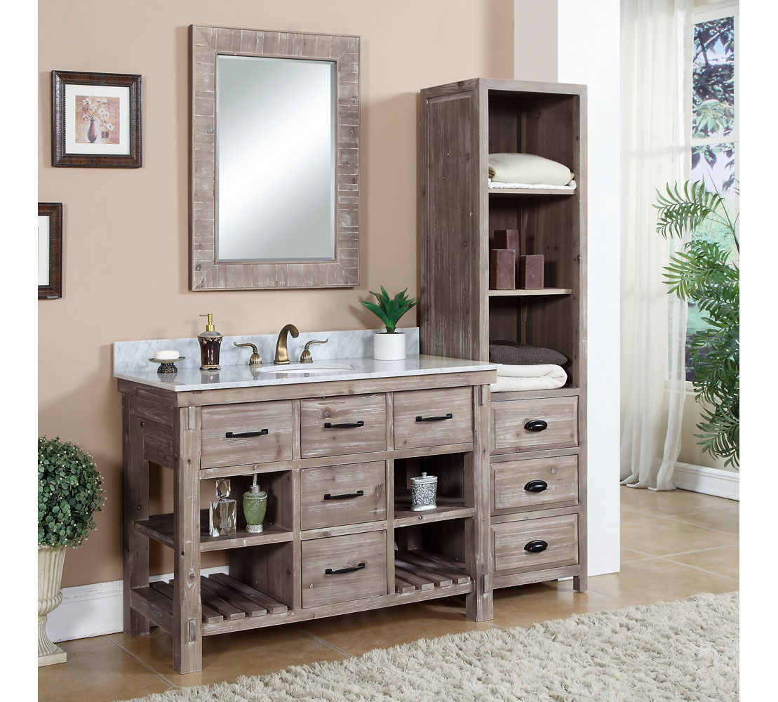 ... Bathroom Vanity Carrera White Grey Top SIDE CABINET