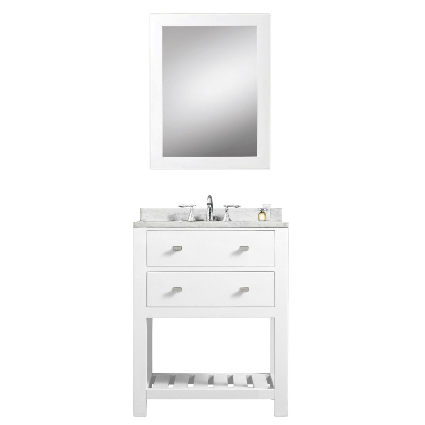 Madalyn 24 inch white single sink bathroom vanity for Single bathroom vanity