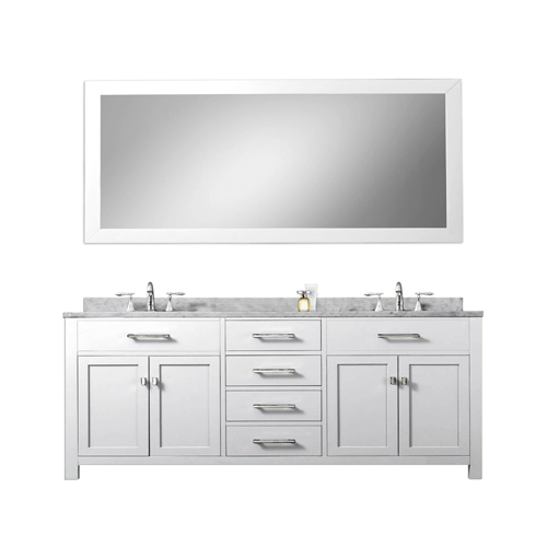 Madison Pure White 72 Inch Double Sink Bathroom Vanity White Marble Countertop