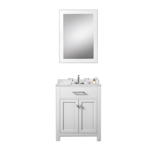 24 Mirrored Bathroom Vanity madison pure white 24 inch single sink bathroom vanity, carrara