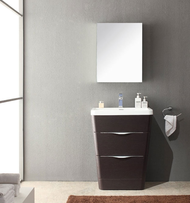 acqua milano 25 inch modern bathroom vanity chestnut finish