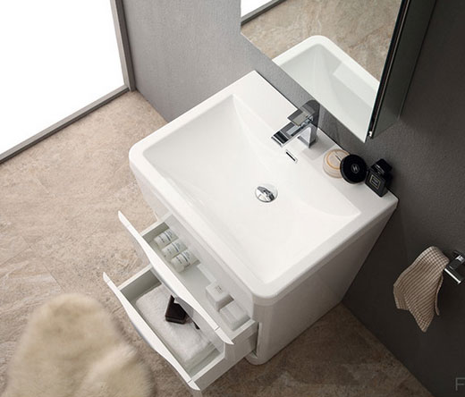 acqua milano 25 inch modern bathroom vanity white finish