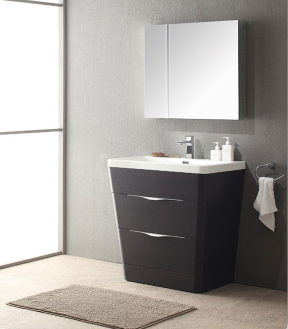 Acqua Milano 31 inch Modern Bathroom Vanity Chestnut Finish