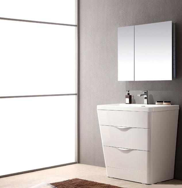 Acqua Milano 31 Inch Modern Bathroom Vanity White Finish Milano 31 Inch Modern  Vanity White Finish ...