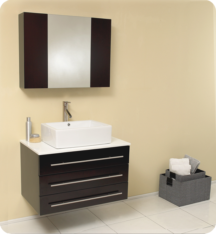 Fresca Modello Espresso Modern Bathroom Vanity With Top Faucet - Bathroom vanity and medicine cabinet