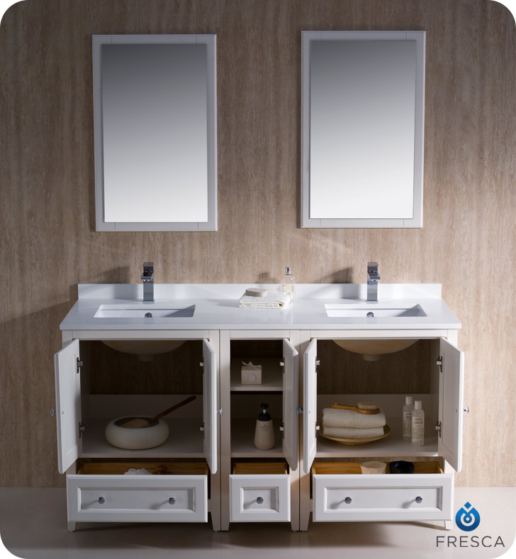 Fresca oxford 60 double sink traditional bathroom vanity for 60 s bathroom ideas