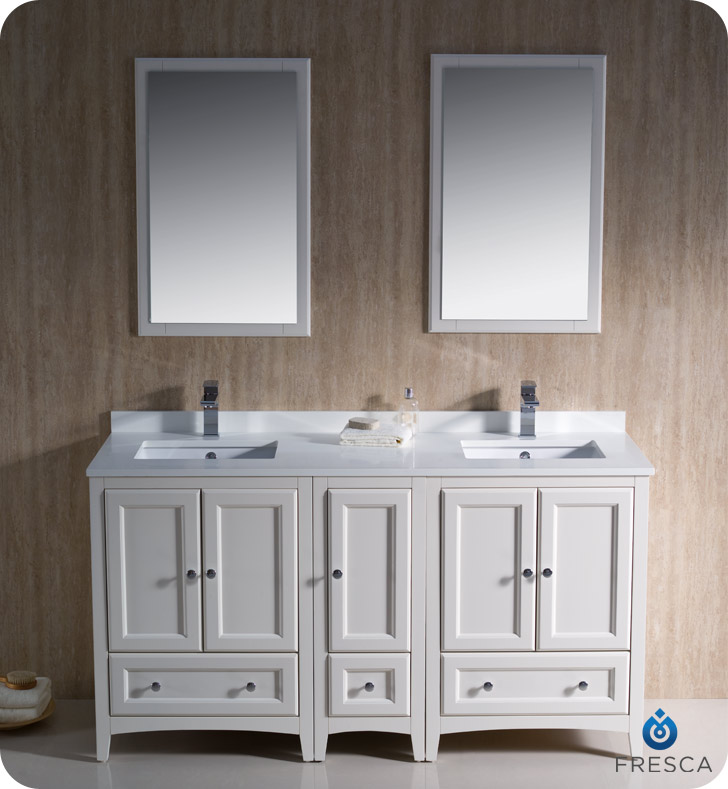Fresca oxford 60 double sink traditional bathroom vanity antique white finish - Traditional bathroom vanities double sink ...