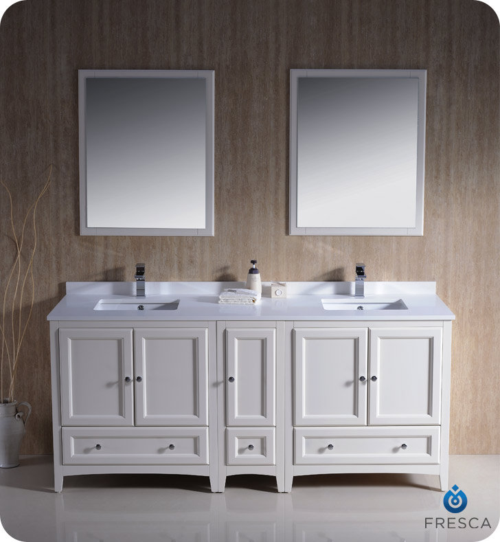 Oxford 72 Double Sink Bathroom Vanity Antique White Finish  Fresca Oxford  72 Double Sink Bathroom. 72 Inch White Bathroom Vanity