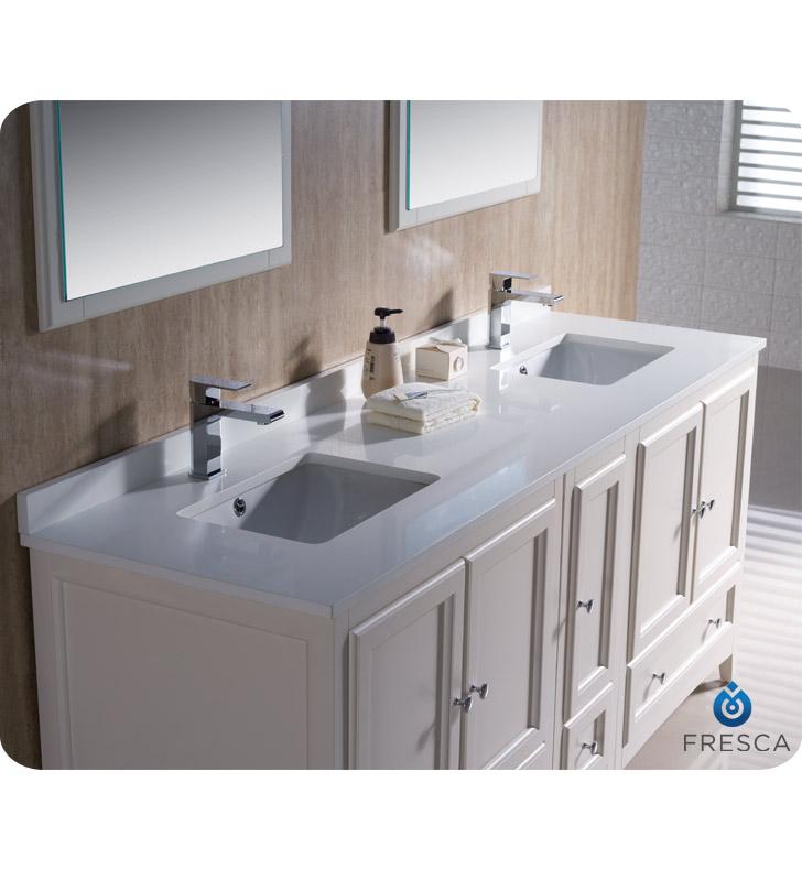 72 in bathroom vanity double sink.  Oxford 72 Bathroom Vanity Antique White Finish Fresca Double Sink