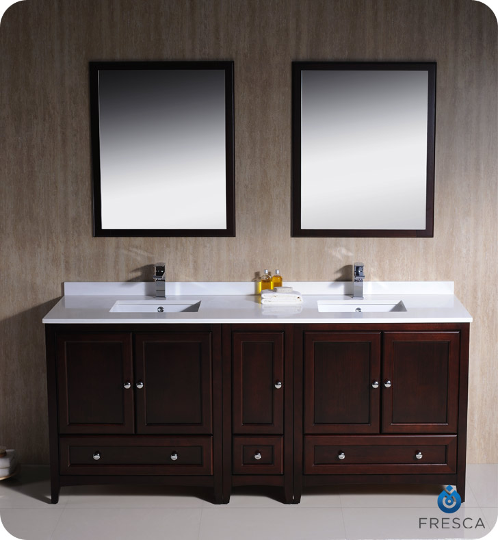 Fresca Oxford Collection 72 Mahogany Traditional Double Bathroom Vanity With Top Sink Faucet And Linen Cabinet Option
