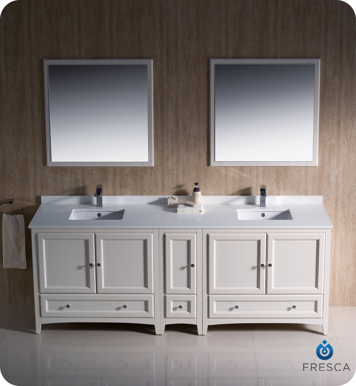 Fresca oxford collection 84 antique white traditional for Antique white double sink bathroom vanities