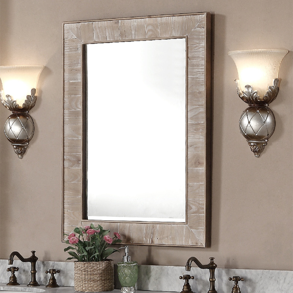 Accos 30 Inch Rustic Bathroom Vanity With Matching Wall Mirror
