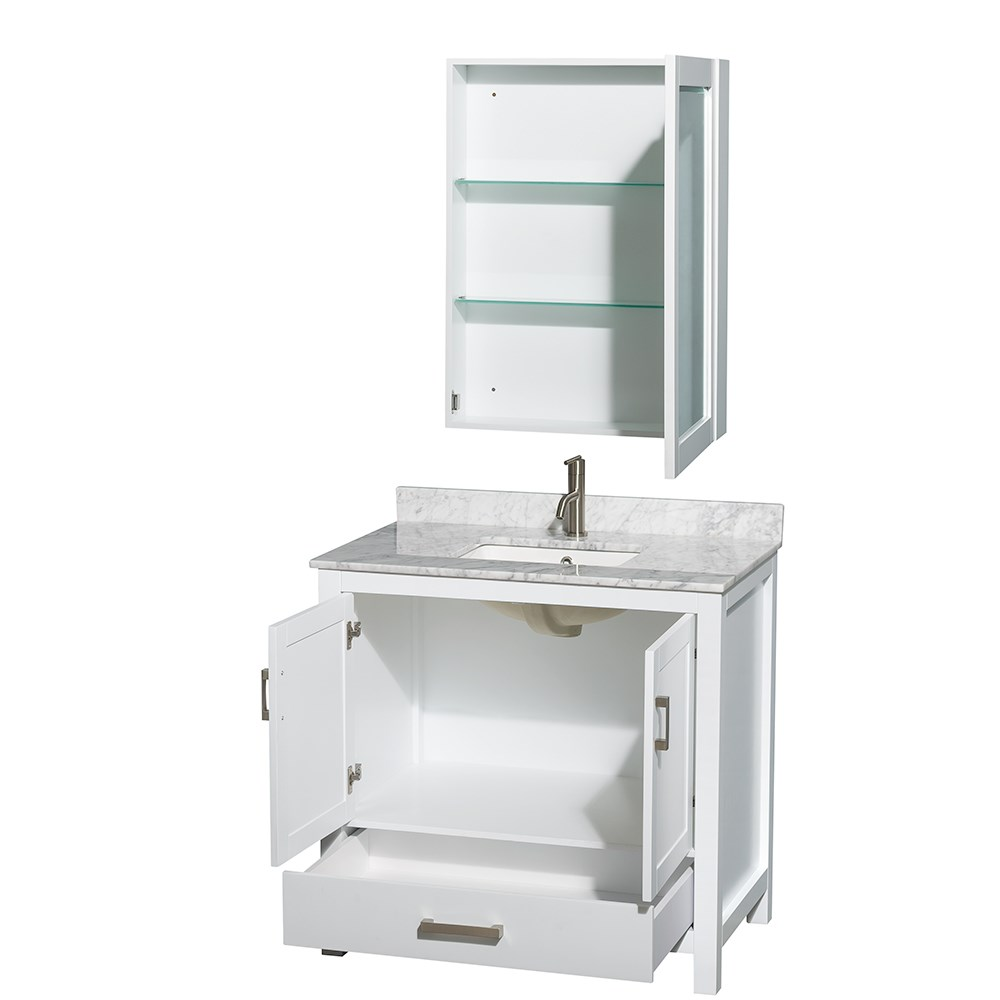 White 36 inch bathroom vanities -  Sheffield 36 Inch Transitional White Bath Vanity Set