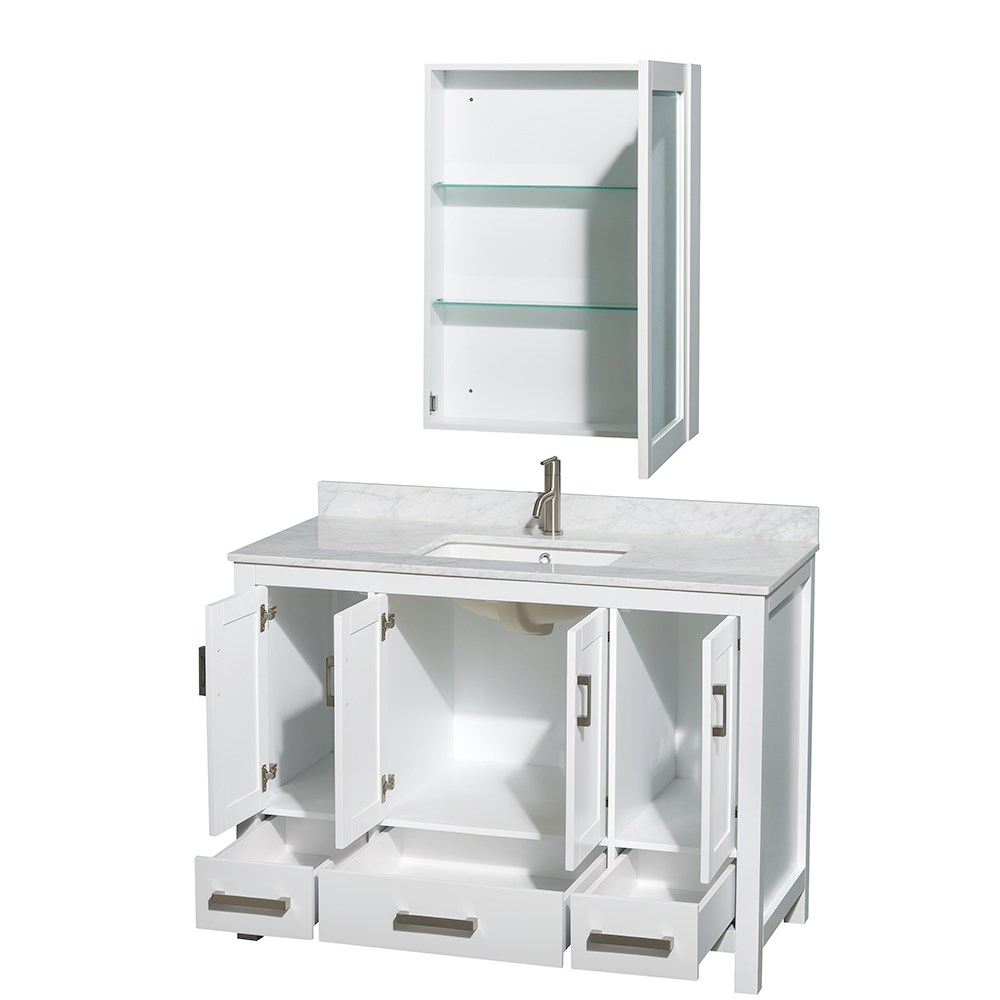 Sheffield 48 inch transitional white bathroom vanity set 48 inch bathroom vanity