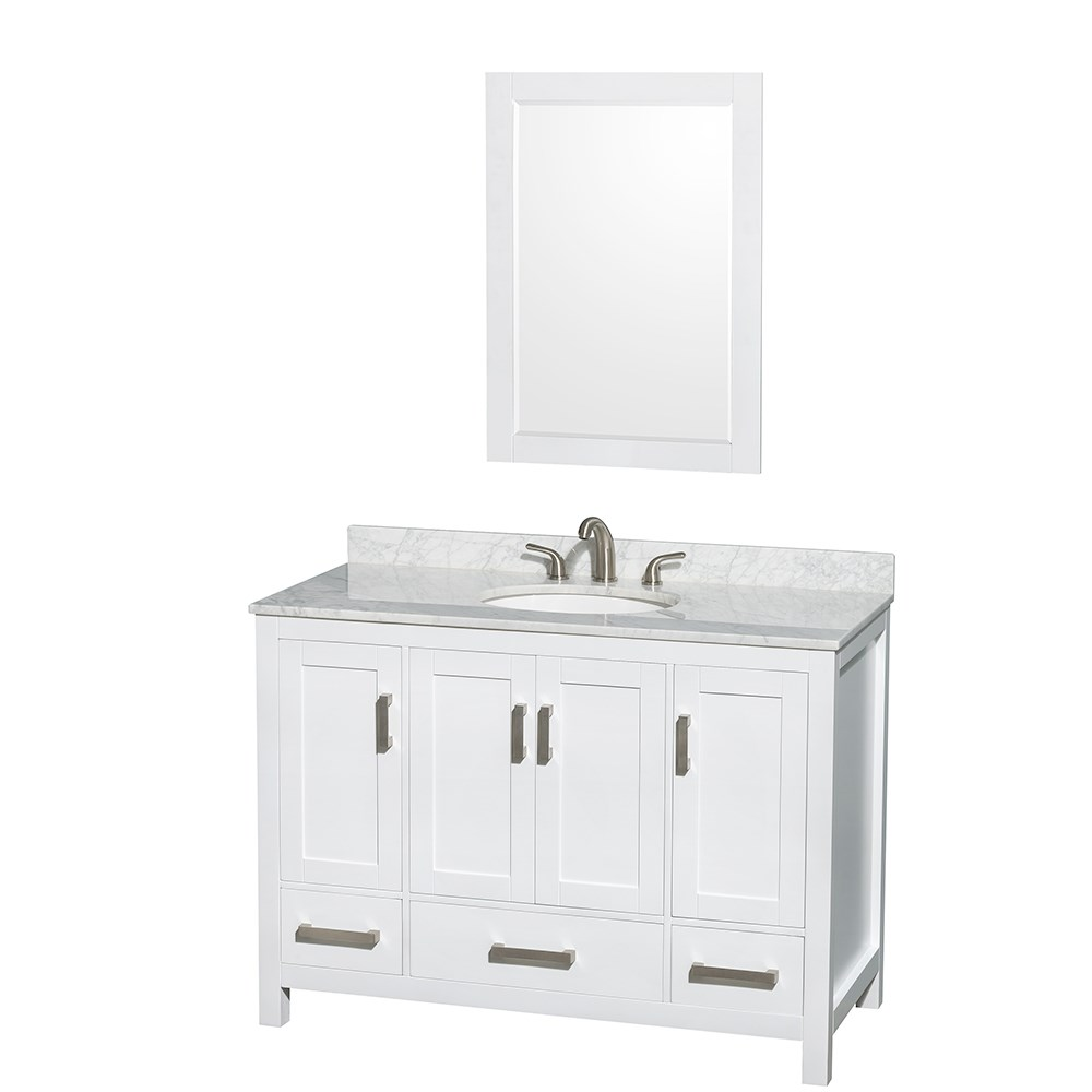 Sheffield 48 inch transitional white bathroom vanity set for Bath and vanity set
