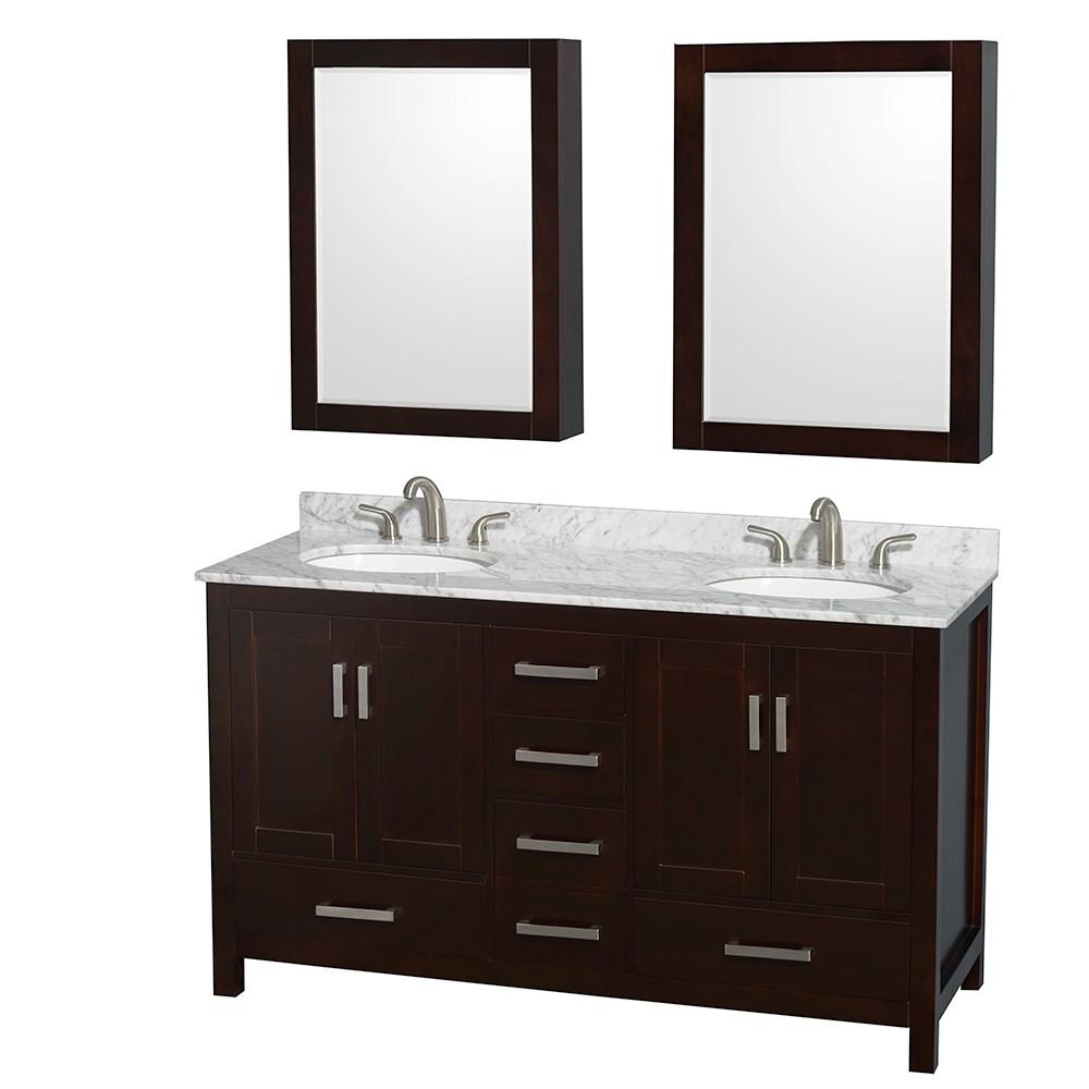 Sheffield 60 inch double sink bathroom vanity espresso for Bathroom finishes